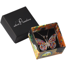 Butterfly necklace 925 silver handmade polymer clay jewelry