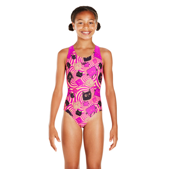 Allover Splashback Swimsuit Girls Swimsuit Purple/Red