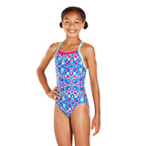Allover Thinstrap Crossback Girls Swimsuit Green/Pink