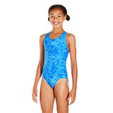 Boom Allover Splashback Girls Swimsuit Blue