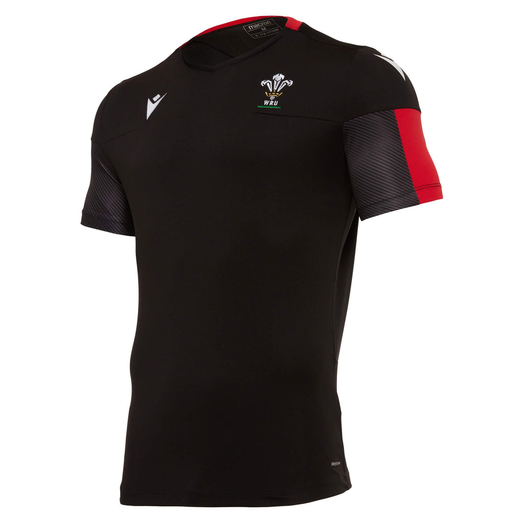 Wales Rugby 20/21 Poly Training Gym T-Shirt Black/Red