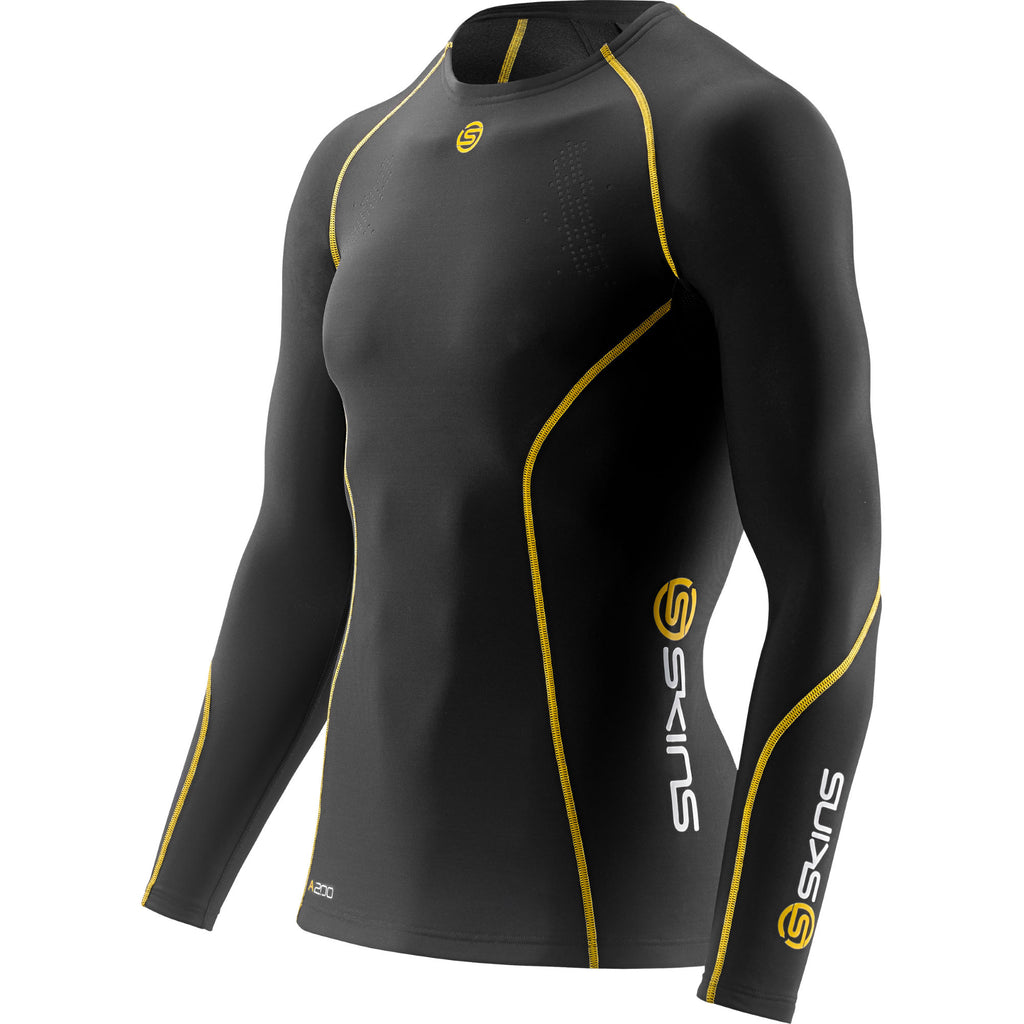 A200 Compression Top Long Sleeve Mens Black/Yellow