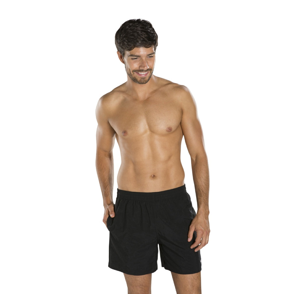 "Solid Leisure 16"" Mens Swim Shorts Black"