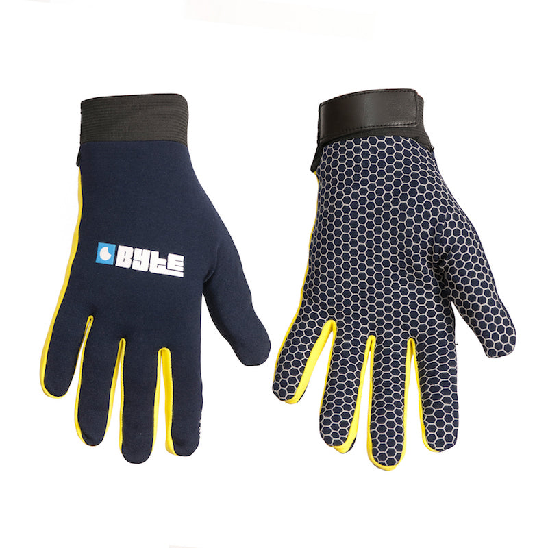Skin Fit Hockey Gloves Navy/Yellow
