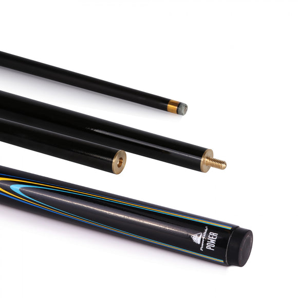 Power Snooker Cue 50/50 Split 10mm Tip Blue/Yellow