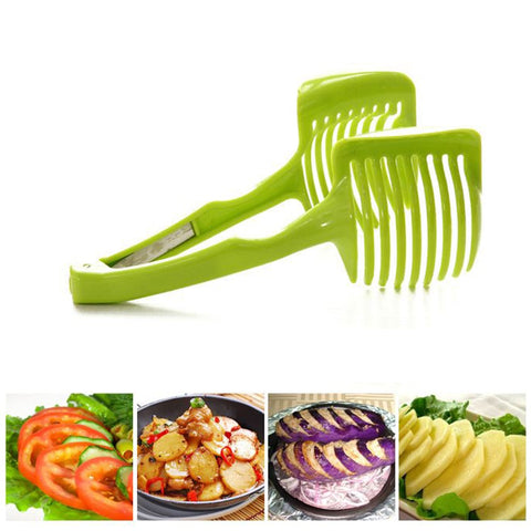 Kitchen vegetable slicer and tong