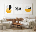 Mustard Yellow Set of 3 Geometric Posters