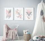 Blush Triangles Bundle Set of 3 Art Prints
