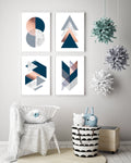 Set of 4 Navy Art Prints