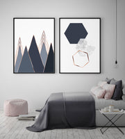 Hexagons and Triangles Navy Art Set