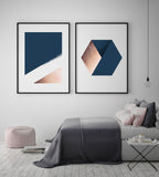 Navy & Copper Colour Block Art Print