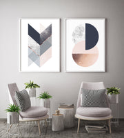Set of 2 Geometric Prints in Charcoal Navy and Blush Pink