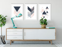Triangles Crush in Navy and Blush Set of 3 Art Prints