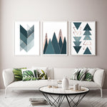 Teal Triangles Set of 3 Prints