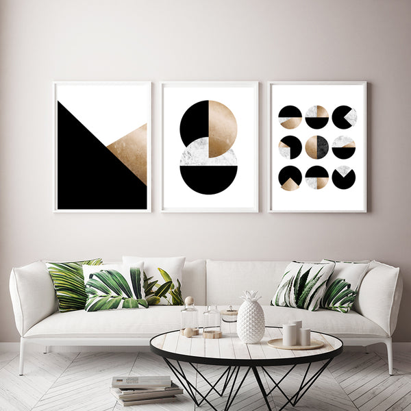 Geometric Set of 3 Art Prints in Black & Gold