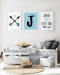 Custom Initial Art Set of 3 Prints