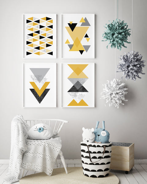 Mustard Geometric Art Print Set