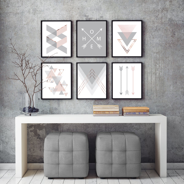 Blush & Grey Art Print Set of 6