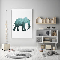 Teal Elephant Silhouette