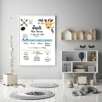 Personalised Baby Boy Birth Chart Art
