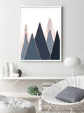 Abstract Mountain Print in Navy