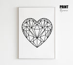 Geometric Love Heart Print in Black & White