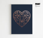 Geometric Heart in Navy & faux Copper