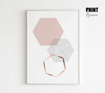 Blush Hexagon Art