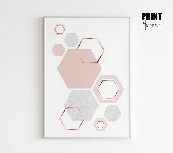 Honeycomb Cluster Print in Blush Pink