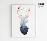 Blush & Navy Geometric Deer Poster