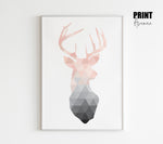 Blush Pink Geometric Deer Art
