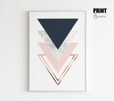 Triangles Stack in Navy and Blush
