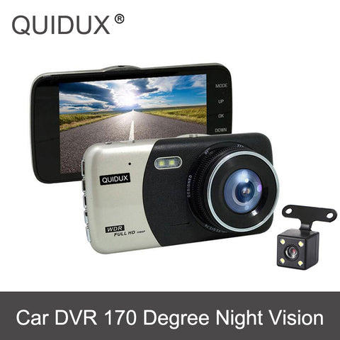 "QUIDUX Dual Camera DVRs 4"" Car Dash Cam 1080P HD Driving Recorder WDR With Rear View Camera Cycle Recording Night Vision Car DVR"
