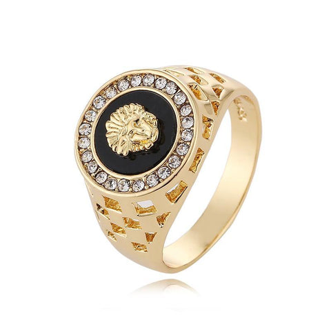 Cubic Zirconia Hip Hop Medusa Head Man Gold Ring