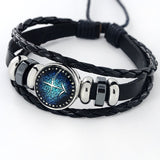 Black Leather Zodiac 12 Constellation Bracelet