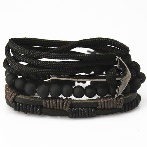 Anchor Bead Leather Bracelets & bangles 4 pcs