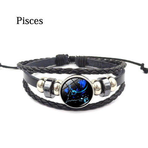 Zodiac Glass Metal Buckle Charm Bracelet