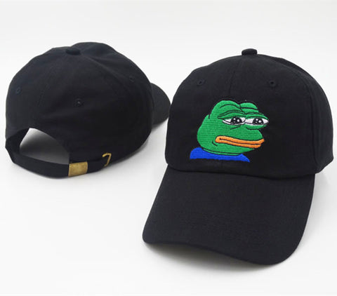 Sad Kermit Tea Cap Frog Pepe Feels Bad Man Embroidery Sun-shade Snapback Hip Hop Baseball Cap The Sad Meme Frog Hat