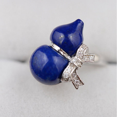 V.YA Pure Handmade Ring Natural lapis lazuli Rings 100% 925 Sterling Silver Adjustable Size Ring Fashion S925 Solid Silver Ring