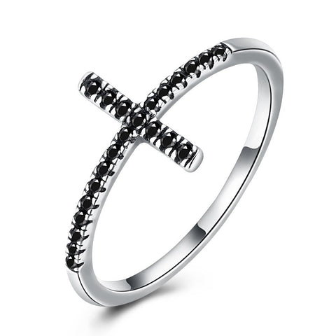 925 Sterling Silver Ring Retro Black zirconia ring SVR160