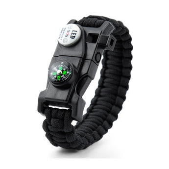 Survival Bracelet With Compass Fire Starter And Whistle