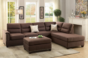 F7613 / BK14.p40 | 3PC SECTIONAL SOFA W/ OTTOMAN IN CHOCOLATE COLOR