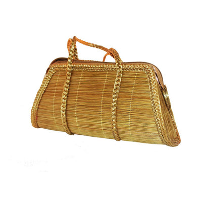 "Women Classic Hand Bag Made Of Brazilian Golden Grass ""Capim Dourado"" - Metro Brazil"