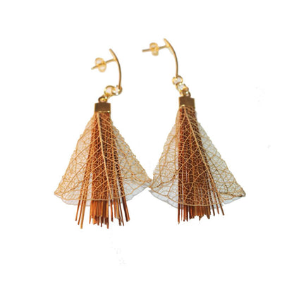 "Leaves Design Earrings Made Of Brazilian Golden Grass ""Capim Dourado"" - Metro Brazil"