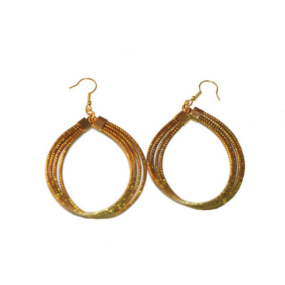 "Rounded Drop Earrings Made Of Brazilian Golden Grass ""Capim Dourado"" - Metro Brazil"