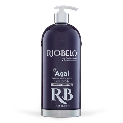 3 Steps Professional Real Brazilian Hair Protein KIT by RIOBELO - Acai FOR DYED HAIR - 1L