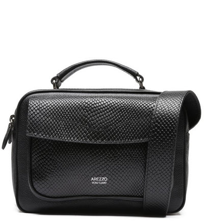 Arezzo Bianca Medium Leather Snake Shoulder Bag - Black