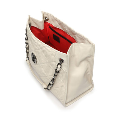 Schutz PRECIOUS SNAKE SHOPPING TOTE Bag - SUGAR WHITE