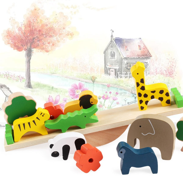 Baby Toys Cute Forest Animal Seesaw Building Blocks Wooden Balance Wood Toys
