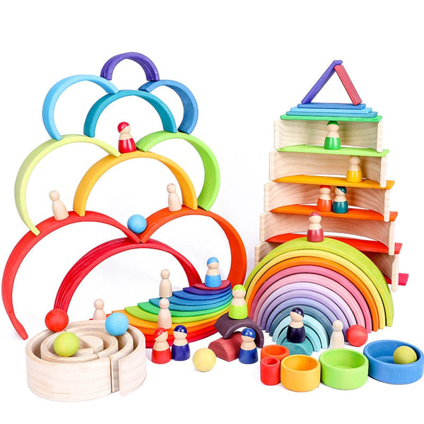 Baby Toys Large Size Rainbow Stacker Wooden Toys For Children Learning Building Blocks Creative Montessori Educational Toy